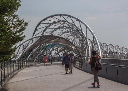 Helix Bridge a pedestrian bridge linking Marina Centre with Marina South in the Marina Bay area in Singapore.