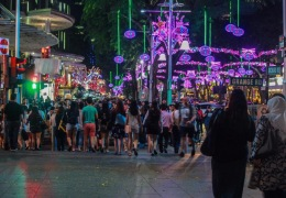 Orchard Road at night.