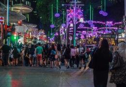 Orchard Road at night.