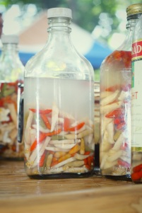 Vinegar with chilli, ginger and garlic (dipping sauce / condiments)